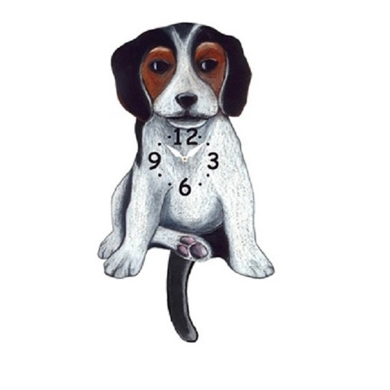 Beagle Dog Wagging Tail Pendulum Clock