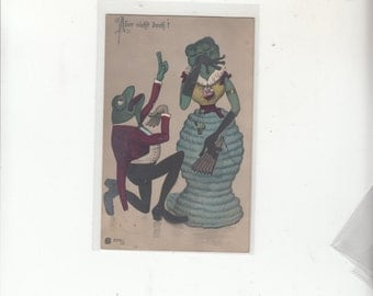 1908 Antique Postcard FROGS-MARRIAGE PROPOSALFemale Frog In Cocoon Skirt-Happy We'll Be