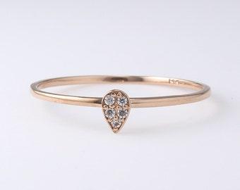 14K Gold Thin Diamond Band, Engagement Ring, Simple Diamond Ring, Diamond Ring, Wedding Band, Stacking Ring, Diamond Wedding Band,