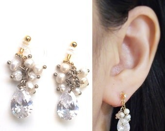 Freshwater Pearl Clip On Earrings Wedding Cubic Zirconia Invisible Clip On Earrings Bridal Clip Earrings Cz