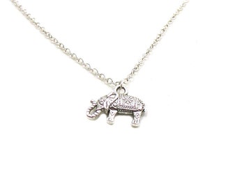 Elephant Necklace, Indian Elephant Necklace, Tiny Elephant Charm, Charm Necklace, Charm Jewelry, Elephant Pendant, Silver Elephant Jewelry