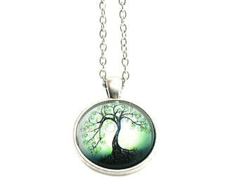 Silver Tree Of Life Necklace, Tree Of Life, Charm Necklace, Charm Jewelry, Ancestry Charm, Family Tree Necklace, Tree Of Life Glass Pendant