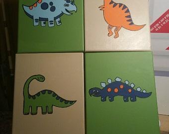 Dinosaur canvas art set, MADE TO ORDER