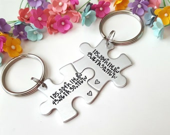 Puzzle Piece Keychains, Coordinate Keychains, Personalized Gift, Boyfriend Gift, Long Distance Relationship, Custom Coordinates, LDR Gifts