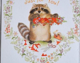 Vintage Greeting Card - Secret Pal Valentine Raccoon - Unused Hallmark