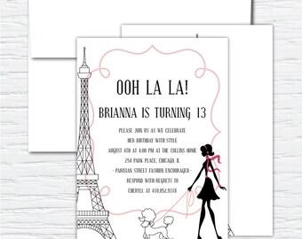 Ooh La La, Parisian, Birthday Party, Invitation, Sample
