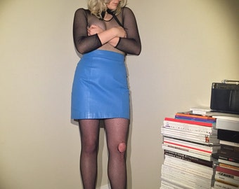 The 'Diner' 80s Teal Lined Leather Mini Skirt
