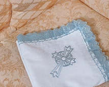 Christening blanket with lace Embroidered blue baby blanket Vintage Baby Blanket Baptismal blanket Christening gift