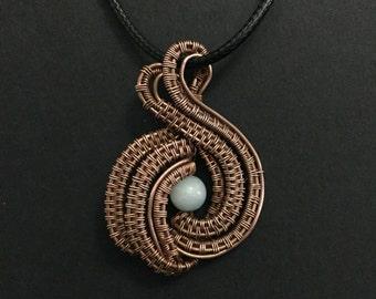 """Aquamarine Copper Wire Wrapped Necklace.  Nicole Hanna Design:  """"Orbital Pendant"""""""