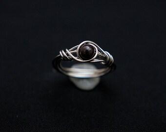 Garnet Wire Wrap Ring