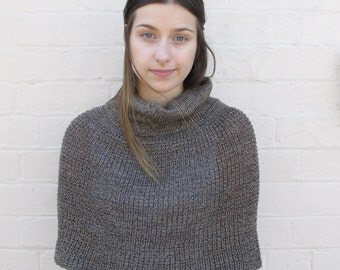 Knitted cropped poncho, shrug, capelet - tortoise shell