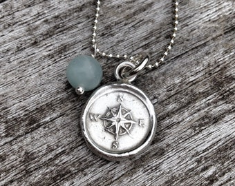 Wax Seal Compass Necklace - Compass Jewelry, Engraved Compass, Wax Seal Necklace, Protection Necklace, Graduation Gift, Strength Jewelry