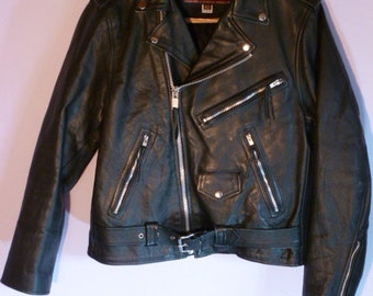Vintage Vanguard Leather of America, Inc. Men's Size 42 Black Motorcycle Jacket