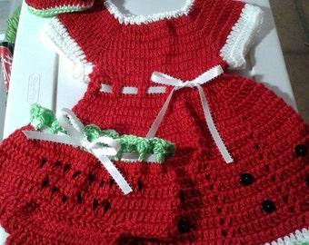 Crochet  watermelon baby dress. booties, bloomers. baby shoes. baby headband. watermelon theme