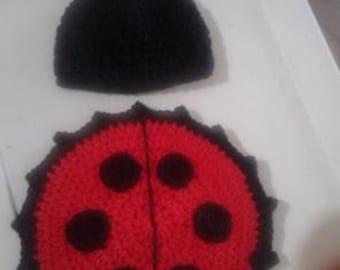 Crochet lady bug newborn photo prop set
