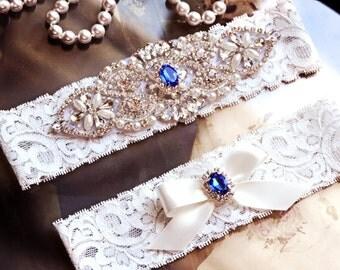 Wedding Garter, GarterSet,  Garter Belt, Blue Garter, Bridal Garter Set, Light Ivory Lace Garter, Blue Wedding Garter, Sapphire Garter Set