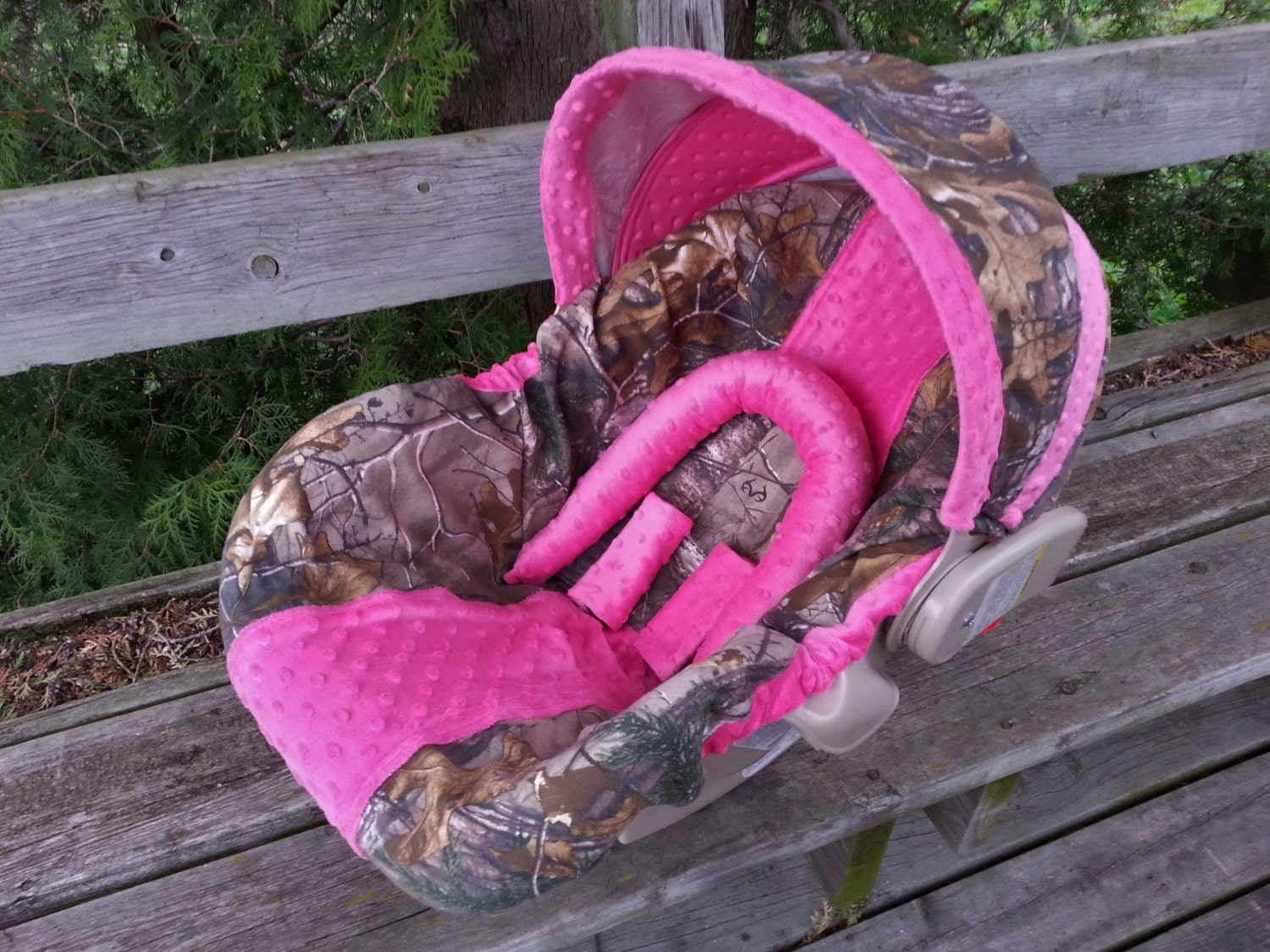 Camo Infant Car Seat Cover Realtree Fabric And Hot Pink Minky