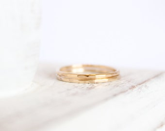 2 Signature Skinny Rings - 14k Gold, Gold Filled or Sterling Silver - Stacking Ring - Textured Ring - Hammered Ring - Simple Ring Set
