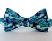 Dr Who Van Gogh Bow Tie Self Tie Starry Night Sci Fi TV Fine Art Whovian Nerd Painting Doctor Who Bowtie Green Blue Freestyle Flying Tardis