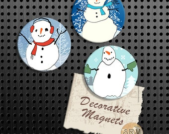 ON SALE Snowman Magnets, Funny Snowmen Gift Set, Snowy Fridge Magnets, Set of 3 Handmade Wood Refrigerator Magnets, Christmas Holiday Gift S