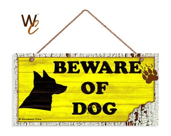 "ON SALE Beware of Dog Sign, Rustic Decor, Dog Bite Sign, Distressed Wood Sign, Dog Silhouette, Weatherproof, 5"" x 10"" Sign, Made To Order"