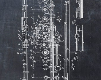 Flute Patent Print Patent Art Print Patent Poster