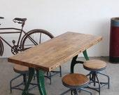 "Vintage Industrial Antique 64"" Dining Table/ Desk w/ Walnut Finished Butcher Block - 1920s"