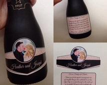 Wedding Mini Champagne Labels Mini Wine Label 187ml Waterproof Champagne Label Custom Personalize Colors Text Photo Qty 50 Sets (100 labels)