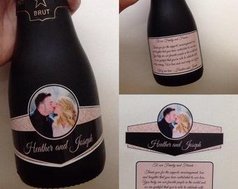 Wedding Mini Champagne Labels Mini Wine Label 187ml Waterproof Champagne Label Custom Personalize Colors Text Photo Qty 50 Sets (100 labels)