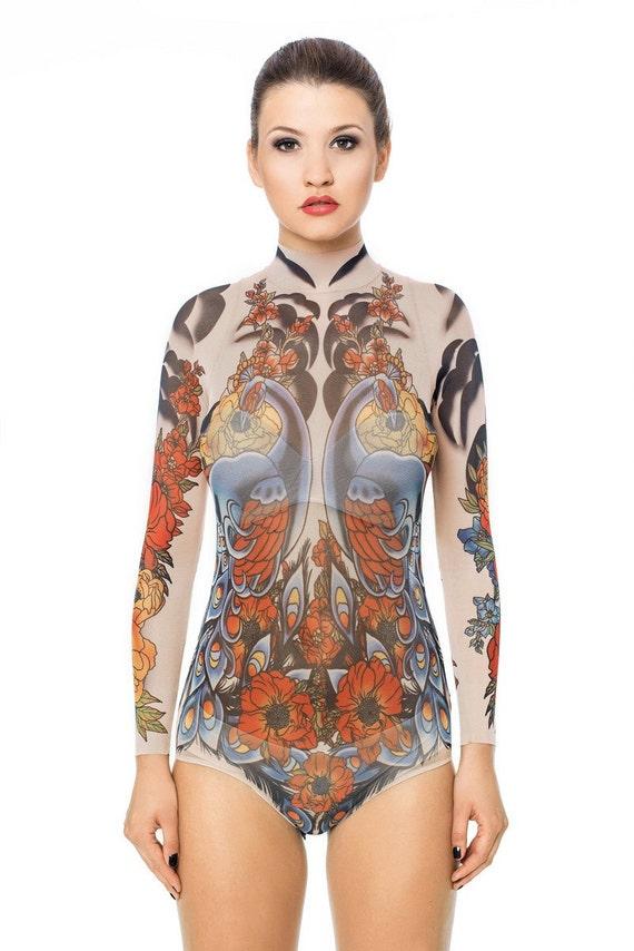 New royal peacocks tattoo bodysuit mesh body tattoo body for Fake body tattoos