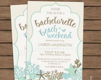 Bachelorette Beach Weekend Invitation - PRINTABLE INVITE - Beach - Girls weekend - Mint - Tan - Brown - Blue - Aqua - Nautical - Seaside