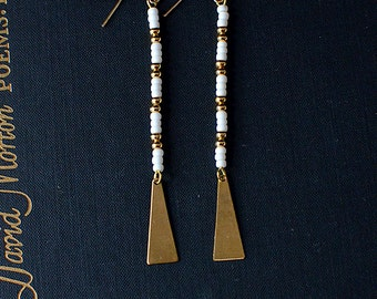 longline. pair of seed bead dangle earrings on 14kt gold filled ear wires with triangles. bohemian. festival wear. brass. 14kt gold. white.