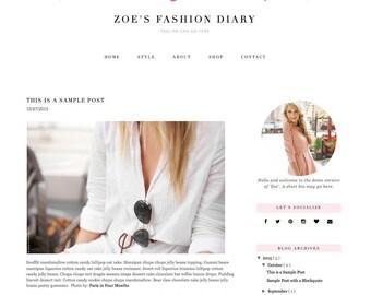 """Responsive Blogger Template """"Zoe"""" - Feminine Blogger Theme"""