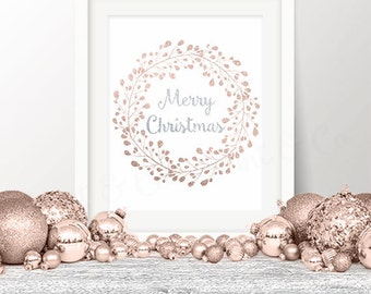 50% OFF! Merry Christmas Printable, Glitter Christmas Print Rose Gold Silver 8x10 Instant Download Merry Christmas Printable Art Holiday Art