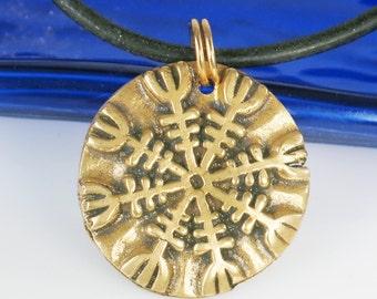 Nordic Viking Helm of Awe Protection Bronze Necklace - Pendant - Keyring - Viking Protection Pendant Key Ring Helm of Awe Gift - Nordic Gift