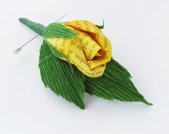 Yellow Paper Flower Boutonniere Button Hole