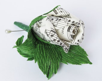 Classical Music Paper Flower Boutonniere