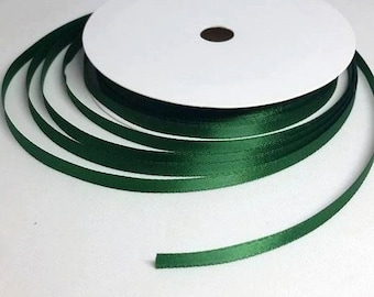 By the Metre 3 mm Green Double Sided Satin Ribbon, Double satin in a popular green, 3 mm Thin Ribbon, Narrow Green Ribbon 3 mm Christmas