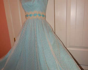 Vintage 1950s Kadine Femme Fatale Mad Men Garden Party Gown