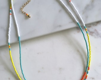 "Native inspired 16"" double strand beaded necklace//beaded layering necklace"