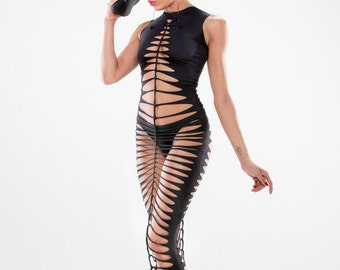 Dress Kanda for woman ripped and braided by Ça Déchire - Festival - Burning man