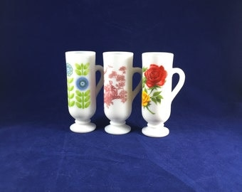 Vintage Avon | Milk Glass Demi Cups | Espresso Mugs | Mini Mugs | Lot of FOUR | 3 fl oz