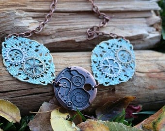Turquoise Steampunk Inspired Necklace