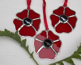 """Stained Glass 'Poppy' Sun Catcher,Remembrance Sunday,Hanging Decoration,Window Art,Red Glass Flower,50p to Victoria Cross Trust Charity.3"""""""