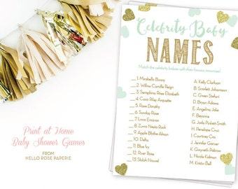 Celebrity Baby Name Game . Mint and Gold Baby Shower Celebrity Names Quiz . Twins Girl Boy Baby Shower Celebrity Game . Instant Download