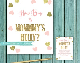 How Big is Mommy's Belly Baby Shower Game Cards and Sign . Pink and Gold Baby Shower Games Printable . Baby Shower Girl . Pink Gold Hearts