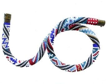 Marine patchwork collier. Short seed bead rope necklace. Nautical jewelry. Free shipping