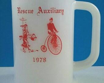 One Of A Kind Vintage White Glass Mug, Glass Mug, Vintage Drinking Mug, Rescue Auxiliary, Glass Mug, Retro.