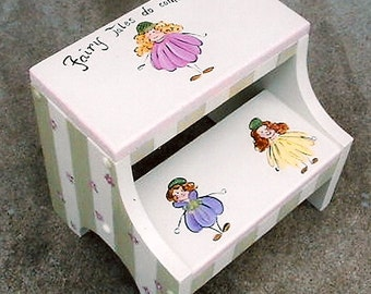 flower fairies step stool, girls step stools, hand painted kids furniture