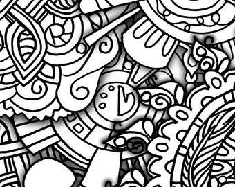 10 doodle filled set2 coloringpages original art coloring book for adultscoloring therapy coloring